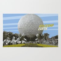spaceship Area & Throw Rugs featuring spaceship earth by studiomarshallarts