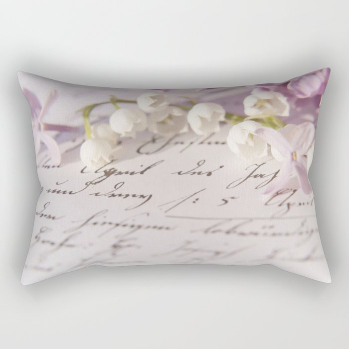 Loveletter - Springflower and old letter - Photography Rectangular Pillow