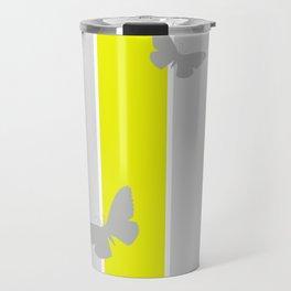 Mustard and Grey Stripes Travel Mug