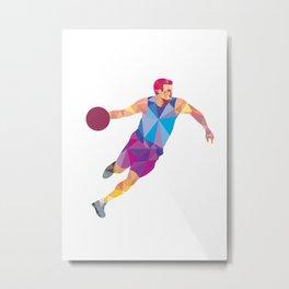 Basketball Player Dribble Front Low Polygon Metal Print