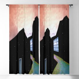 'Night and Day,' magical realism surreal planet cityscape landscape painting by Sérgio Valle Duarte Blackout Curtain