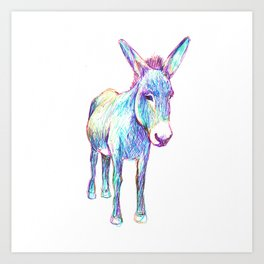 Colourful Donkey Art Print