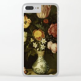 Ambrosius Bosschaert - Still life with flowers in a Wan-Li vase (1619) Clear iPhone Case