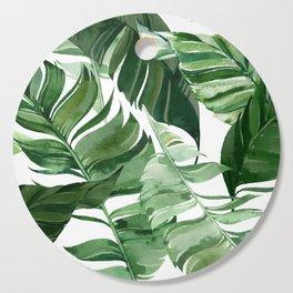 Green leaf watercolor pattern Cutting Board