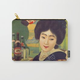 Vintage Japanese Beer Colorful Ad Carry-All Pouch