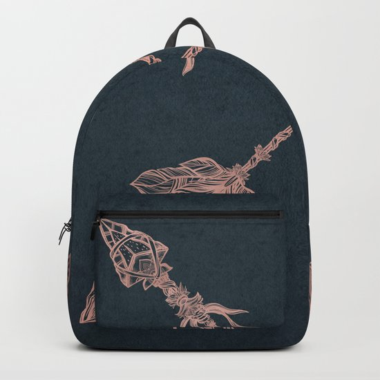 Arrows Rose Gold Foil on Navy Blue Backpack