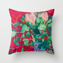 Two Proteas on Red, Pink, and Purple Floral Still Life with Fynbos Throw Pillow