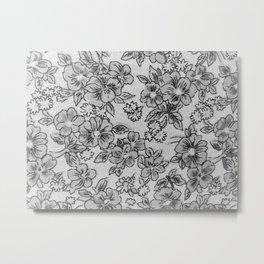 soft black and white flowes Metal Print