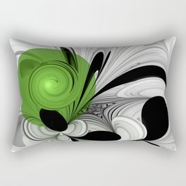 Abstract Black and White with Green Rectangular Pillow