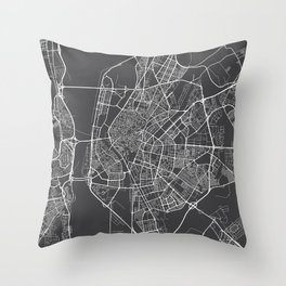 Seville Map, Spain - Gray Throw Pillow