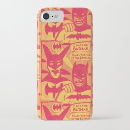 Beware the Yellow and Red Batmen iPhone Case