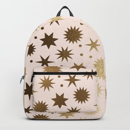 Vintage Christmas Wrapping Paper Pattern Design Ivory and Gold Stars & Dots Backpack