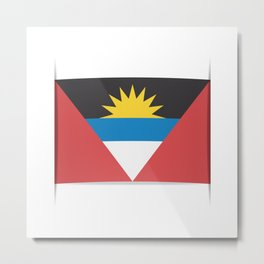 Flag of Antigua and Barbuda.  The slit in the paper with shadows. Metal Print
