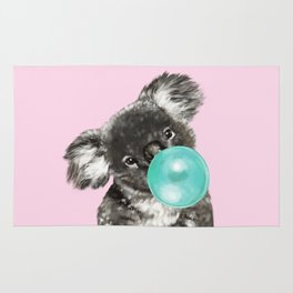 Playful Koala Bear with Bubble Gum in Pink Rug