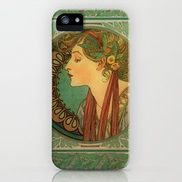 Alphonse Mucha Laurel iPhone Case