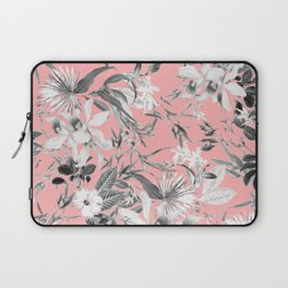 Black and White Floral on Light Pink Laptop Sleeve