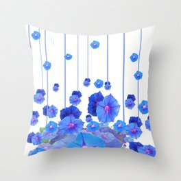 BABY BLUE MORNING GLORIES RAIN ABSTRACT ART Throw Pillow