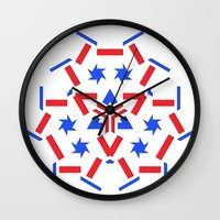 patriotic Wall Clocks featuring Patriotic by Robin Curtiss