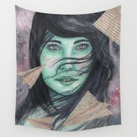 planes Wall Tapestries featuring Paper planes  by Pendientera