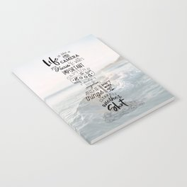 Life is Like a Camera Travel Photography Quote // Beach + Ocean Waves Background Notebook