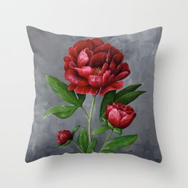 Red Peony Flower Painting Throw Pillow