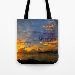Serenity Prayer Sunset By Sharon Cummings Tote Bag