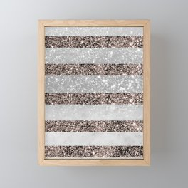 White Marble Rose Gold Glitter Stripe Glam #2 #minimal #decor #art #society6 Framed Mini Art Print