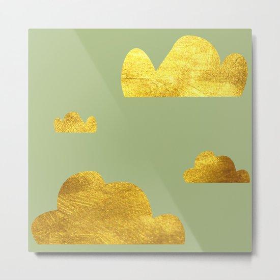 Gold Clouds green Metal Print