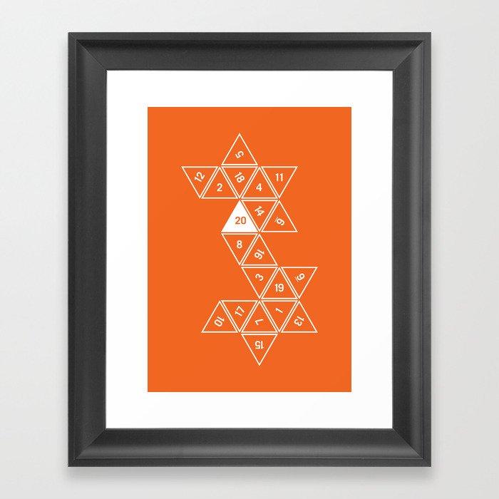 Orange Unrolled D20 Gerahmter Kunstdruck