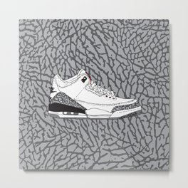 Jordan 3 White Cement Metal Print