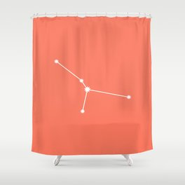 Cancer Zodiac Constellation - Coral Red Shower Curtain