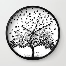 Crows in a tree Wall Clock