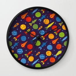 Pattern with rockets Wall Clock