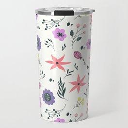Abstract coral purple violet vector floral pattern Travel Mug