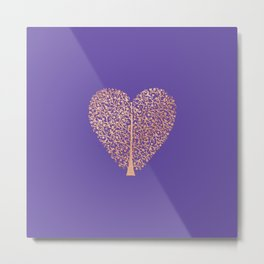 Rose Gold Foil Tree of Life Heart Metal Print