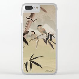 Two Birds in Bamboo Tree Clear iPhone Case
