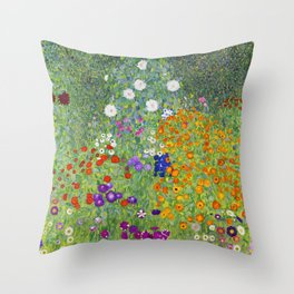 Flower Garden - Gustav Klimt Throw Pillow