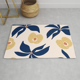 Flowers and Peaches: Abstract, Pattern, Blue and Yellow, Floral Prints Rug