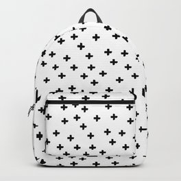 Black hand drawn pluses pattern on white Backpack