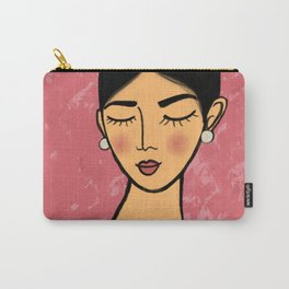 Pearl earrings in Pink Carry-All Pouch