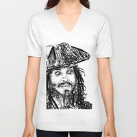 jack sparrow V-neck T-shirts featuring Jack Sparrow by Brittney Patterson