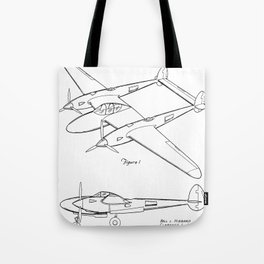 Lockheed P-31 Airplane Patent - Lightning Aircraft Art - Black And White Tote Bag