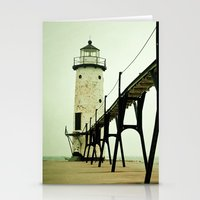 calm Stationery Cards featuring Manistee Light by Olivia Joy StClaire