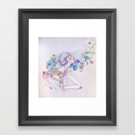 The lady and the flowers. Framed Art Print