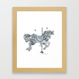 Carousel Horse - Rose Framed Art Print