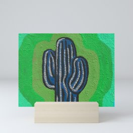 Saguaro Painting -Navy, Green, Turquoise  Mini Art Print