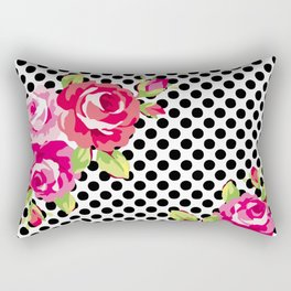 Roses on black dots Rectangular Pillow