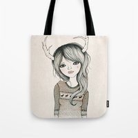 antler Tote Bags featuring Antler Girl by Kelli Murray