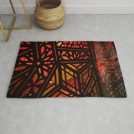 Abstract Red Light Exhibit Rug