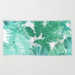 Tropical Leaf Green Beach Towel